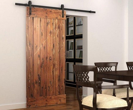 Interior sliding barn doors with dark bronze industrial sliding door hardware