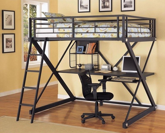 Metal bunk bed with desk underneath in black finish