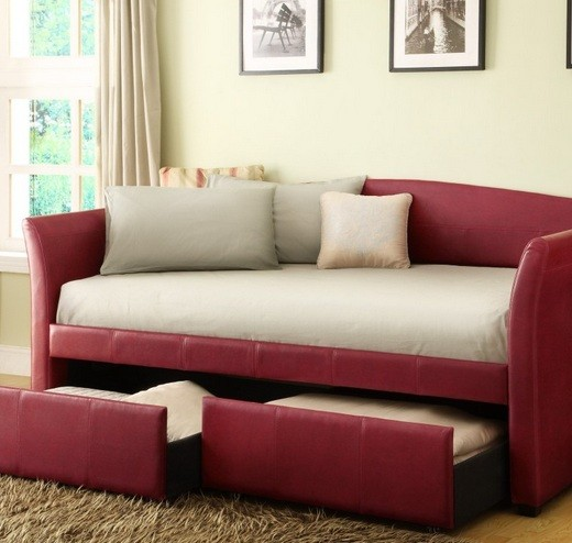 Red daybeds with storage
