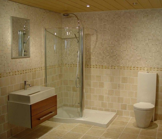 Small shower stalls with fiberglass shower floor