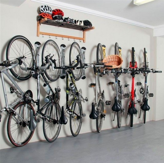 Swivel bike racks for garage with storage shelves for helmet home interiors - Bike storage for small spaces image ...
