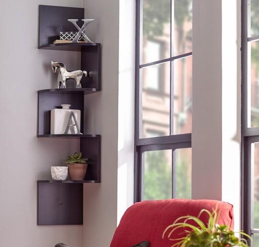 Black painted floating corner shelves