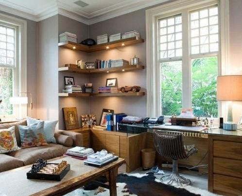 Custom floating corner shelves design with light