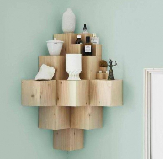Custom floating corner shelves with decorative design