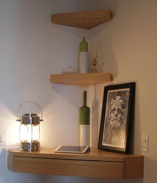 Floating corner shelves design with drawer