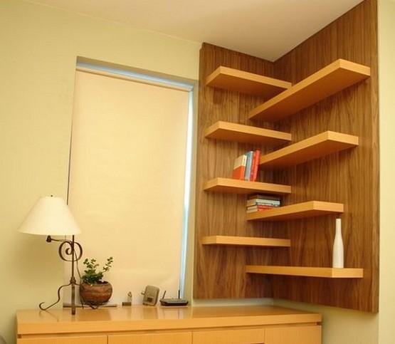 Floating corner shelves plans design for any room