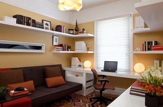 White custom floating corner shelves design in home office