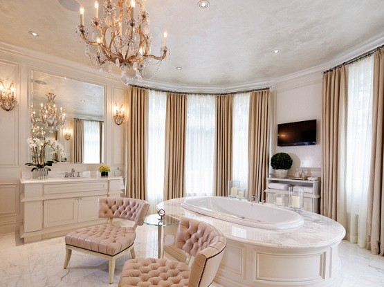 Bathroom window treatment for luxurious master bathrooms