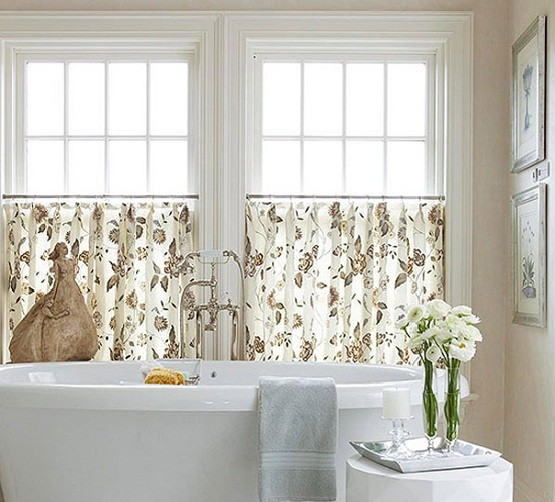 Bathroom window treatment with cafe curtain style