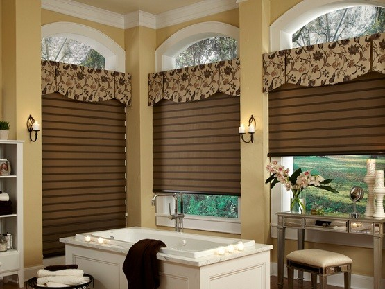 Bathroom window treatment with dark tones roll up window blinds