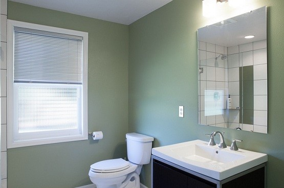 Bathroom window treatment with white windows frames and frosted glass