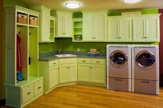 Green Wooden Laundry Room Cabinet Ideas
