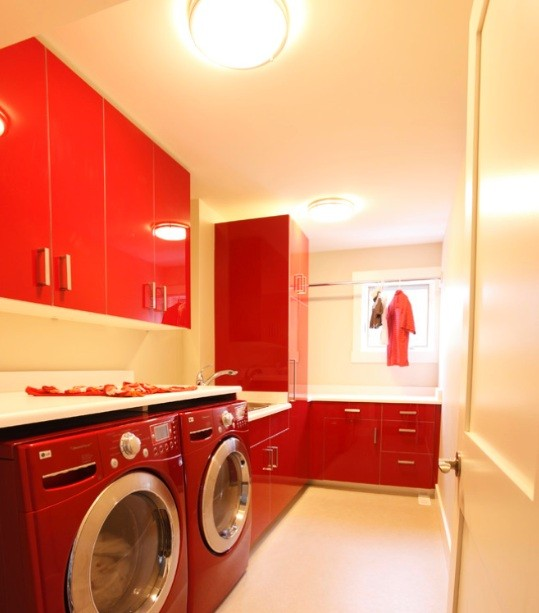 Red laundry room cabinet ideas
