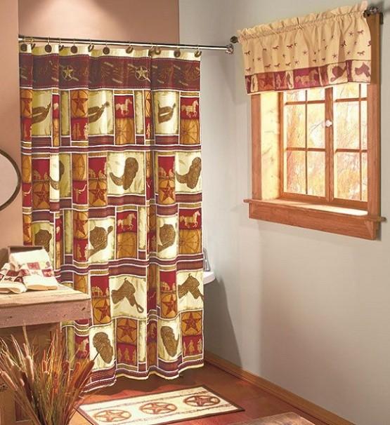 Western bathroom decor with shower curtains