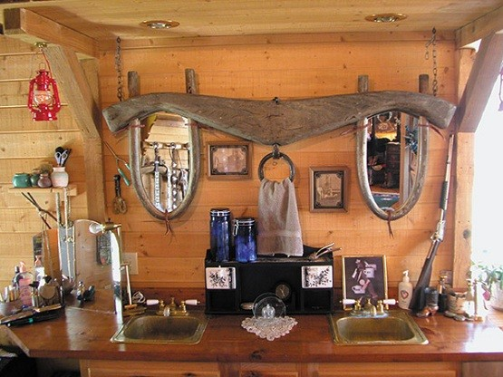 western bathroom decor with wooden mirrors - Western Bathroom Decor