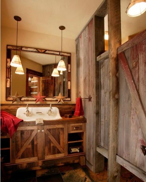 Western bathroom decor with wooden vanity