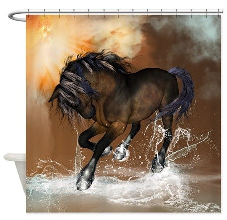 Western shower curtains with beautiful horse print
