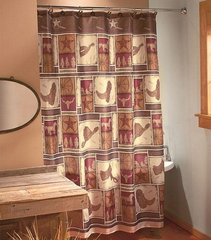 Western Shower Curtains With Cowboy Boots And Hats Print