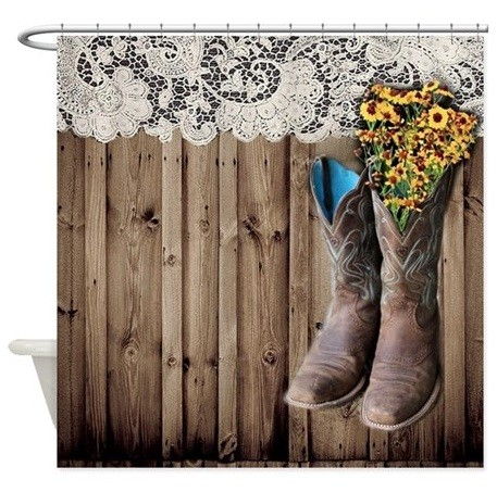 Western shower curtains with cowboy boots print
