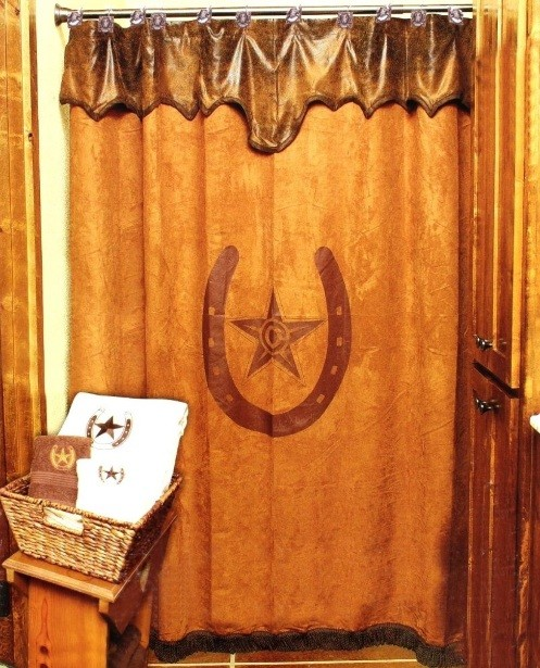 Western shower curtains with horseshoe print