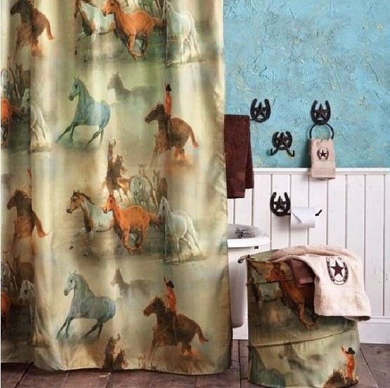 Western shower curtains with west cowboy print