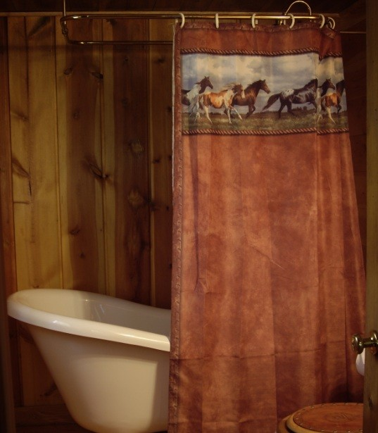 Western shower curtains with wild horses print