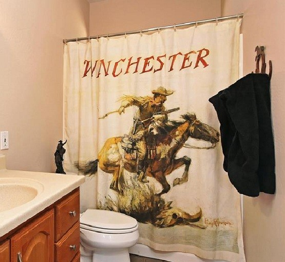 Western shower curtains with winchester print