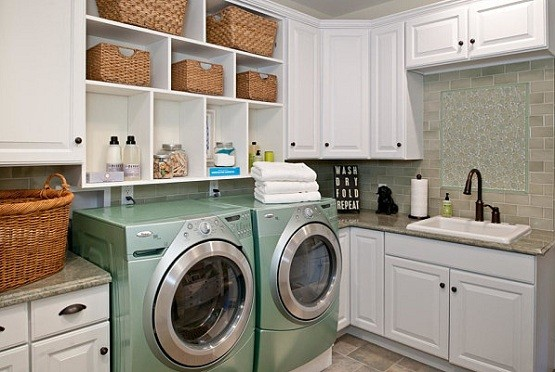 Wooden laundry room cabinet ideas with shelving units