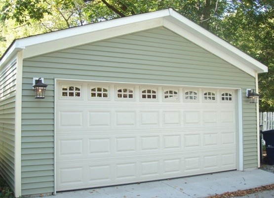 20 foot garage door with raised panel and window