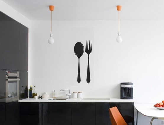 Black Fork And Spoon Wall Decor In Modern Kitchen