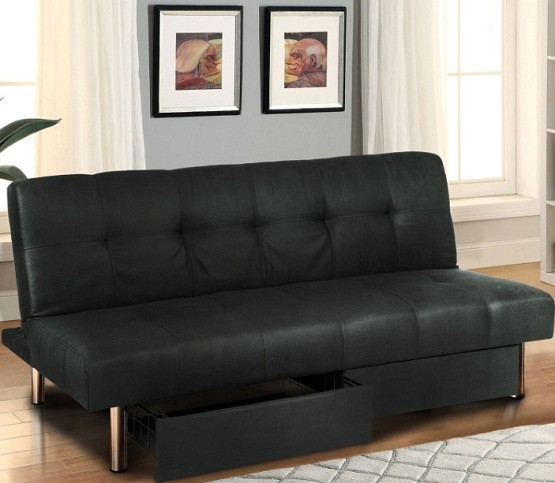 Black futon with storage bins and adjusteble in multiple positions