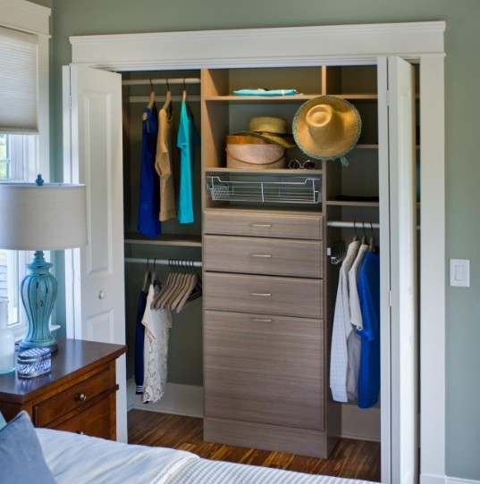 Corner wall closet furniture ideas for space saving bedroom