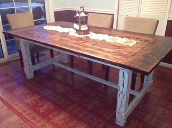 Custom made reclaimed farmhouse style dining table