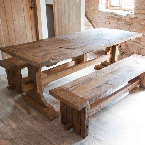 Distressed Farmhouse Style Dining Table With 2 Bench