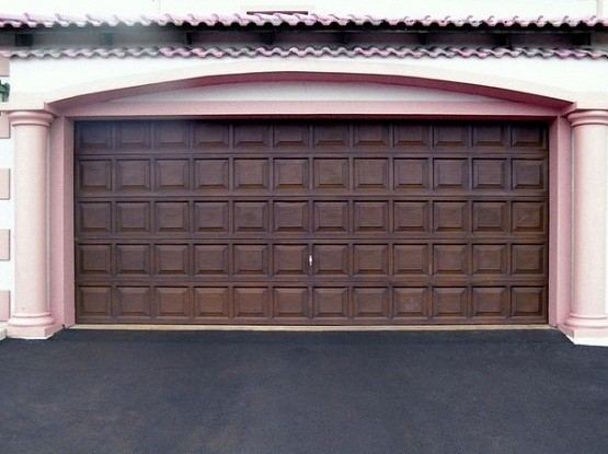 Double garage door size with brown finish