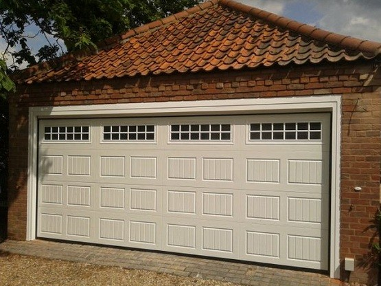 Double garage door size with garage window inserts