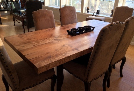 Figured Maple Wood Farmhouse Dining Table Home Interiors