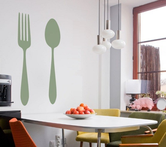 Fork and spoon wall decor with wallpaper
