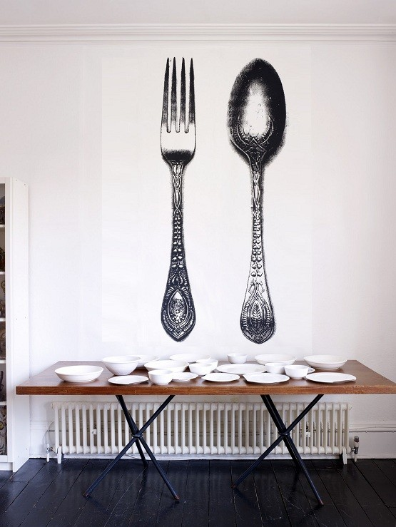 Fork and spoon wallpaper decor in dining room