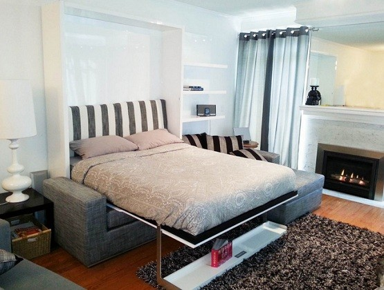Gray sofa wall bed for space saving bedroom