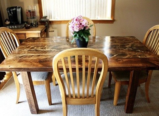 Hand scraped farmhouse dining table with chairs