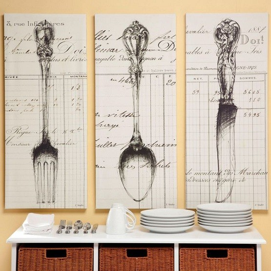 Knife fork and spoon wall decor with wallpaper
