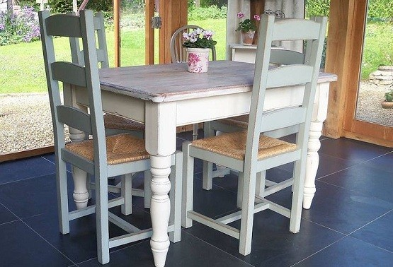 Painted Farmhouse Style Dining Table For Small Room