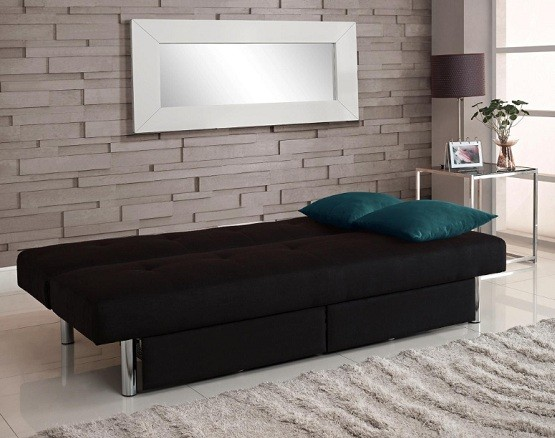 Sola futon with storage bins black