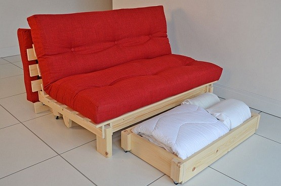 Stylish futons with storage drawer and red mattress
