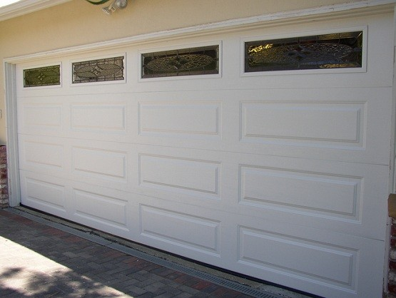 White Garage Door Panel Replacement With Window Panels