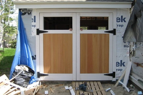 Swing out garage doors how to build in three steps home for Carriage door plans