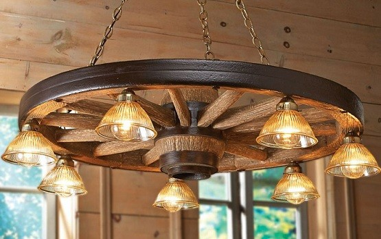 Antique rustic lighting for dining room with seven lights