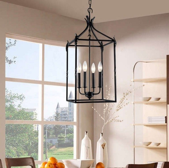 Beau Black Classic Lantern Chandelier For Dining Room With 4 Light