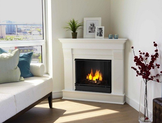 Corner fireplace design ideas with granite fireplace mantel